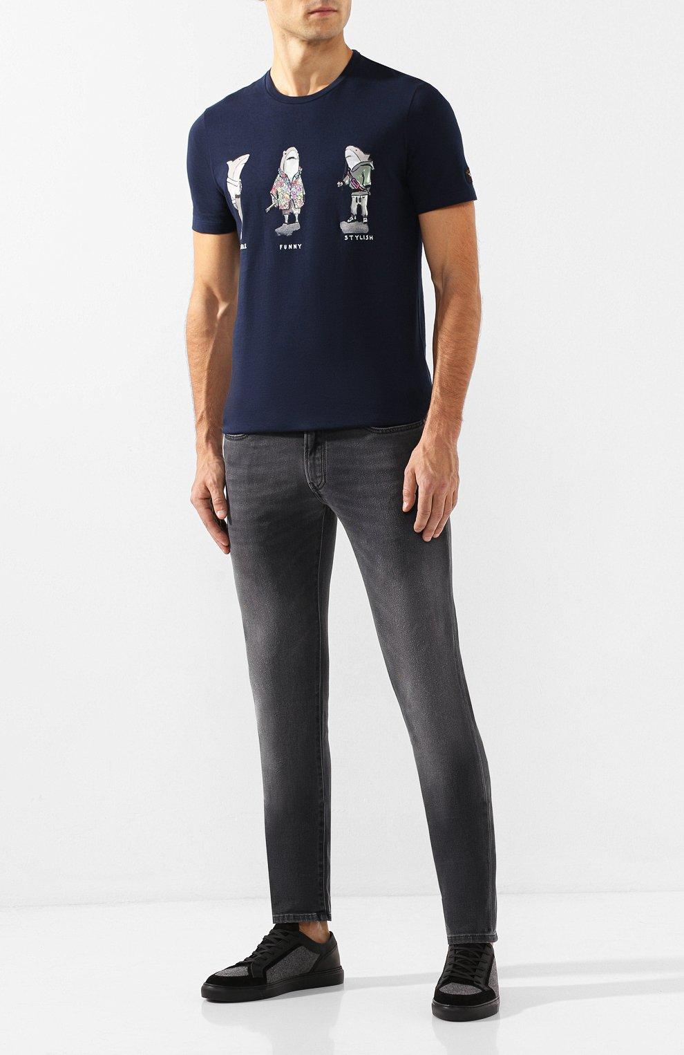 Мужская хлопковая футболка PAUL&SHARK темно-синего цвета, арт. A19P1659   Фото 2