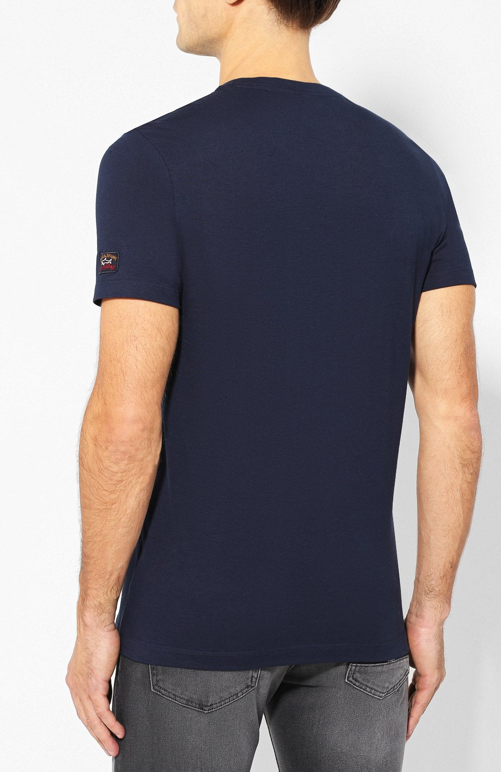 Мужская хлопковая футболка PAUL&SHARK темно-синего цвета, арт. A19P1659   Фото 4
