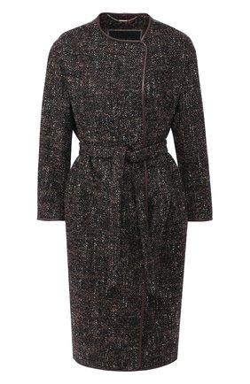 Женское шерстяное пальто KITON коричневого цвета, арт. D48631K04S25   Фото 1