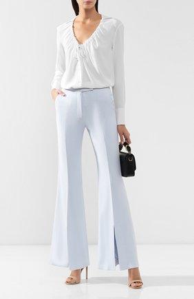 Женские брюки из смеси шерсти и шелка GABRIELA HEARST голубого цвета, арт. 419206 S010 | Фото 2