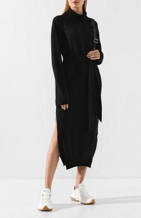 Женское платье с поясом NANUSHKA серого цвета, арт. CANAAN_CHARC0AL_CASHMERE BLEND RIB   Фото 2