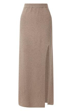 Женская юбка с разрезом NANUSHKA бежевого цвета, арт. PAAK_TAUPE_CASHMERE BLEND RIB | Фото 1