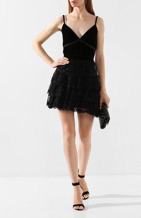 Женская кружевная юбка ERMANNO ERMANNO SCERVINO черного цвета, арт. 45T GN36 PIZ | Фото 2