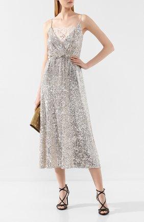 Женское платье с пайетками ERMANNO ERMANNO SCERVINO бежевого цвета, арт. 45T AB05 PAI   Фото 2
