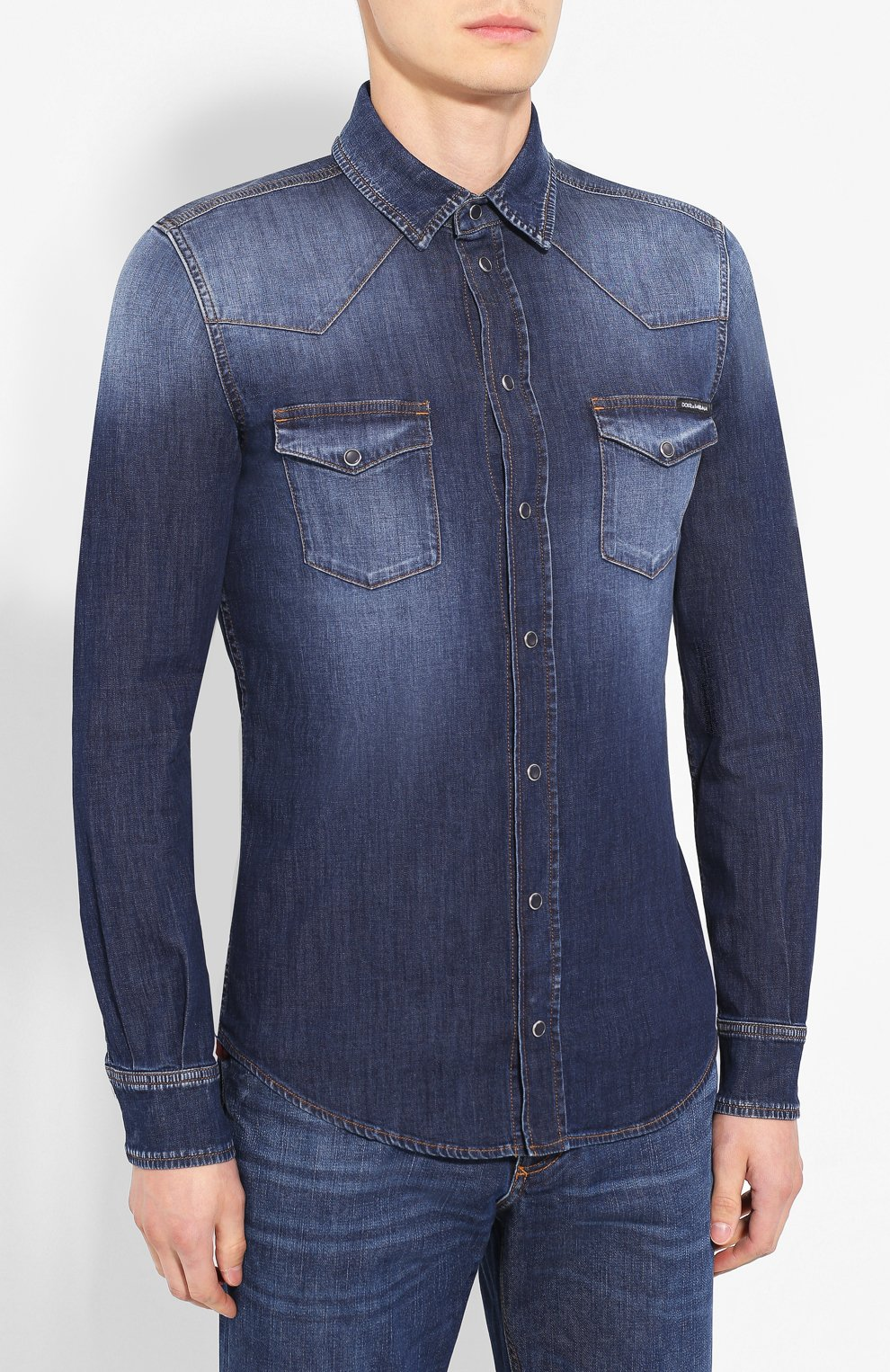 Мужская джинсовая рубашка DOLCE & GABBANA голубого цвета, арт. G5EX7D/G8BF6 | Фото 3