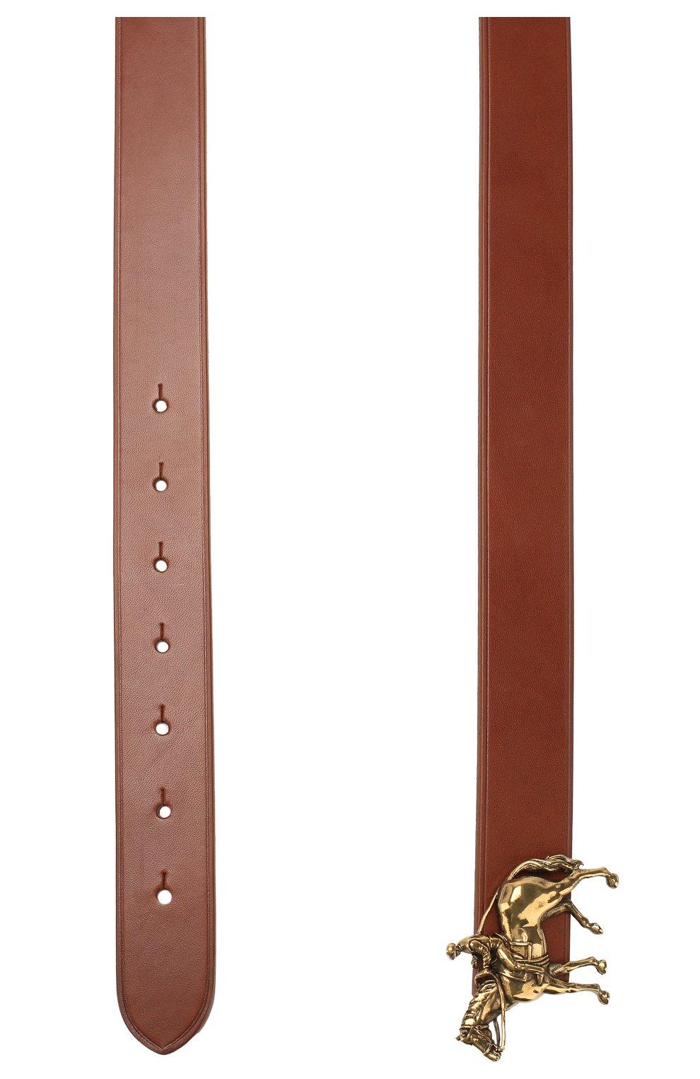 Мужской кожаный ремень RALPH LAUREN темно-коричневого цвета, арт. 404761815   Фото 2
