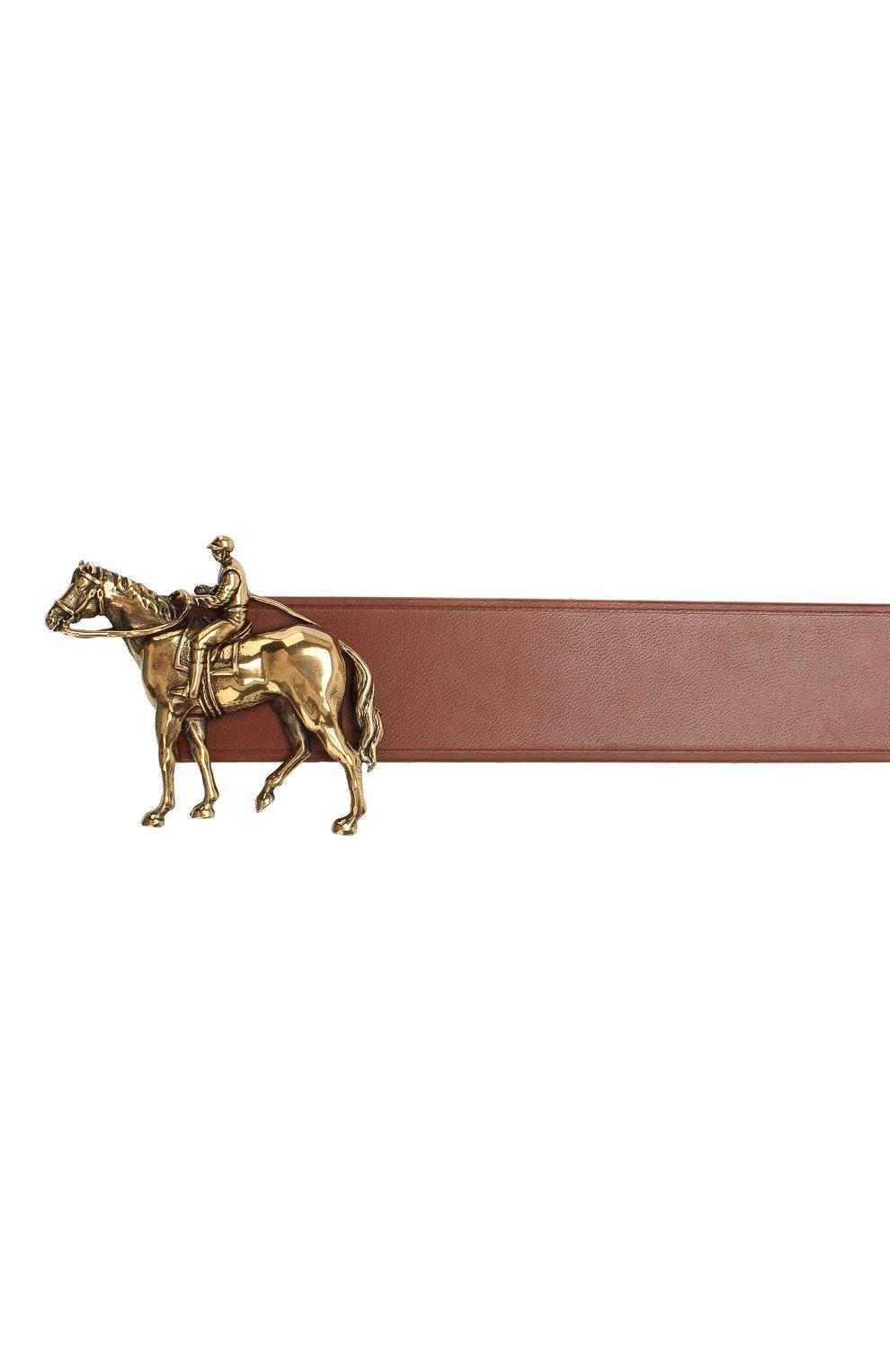 Мужской кожаный ремень RALPH LAUREN темно-коричневого цвета, арт. 404761815   Фото 3