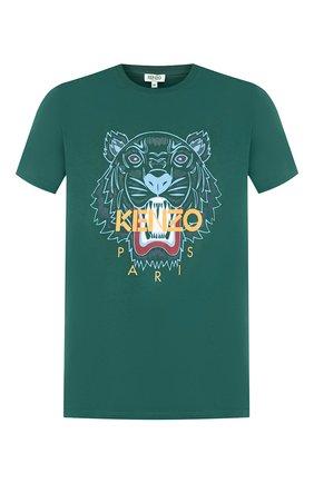 Мужская хлопковая футболка KENZO зеленого цвета, арт. F965TS0504YA   Фото 1