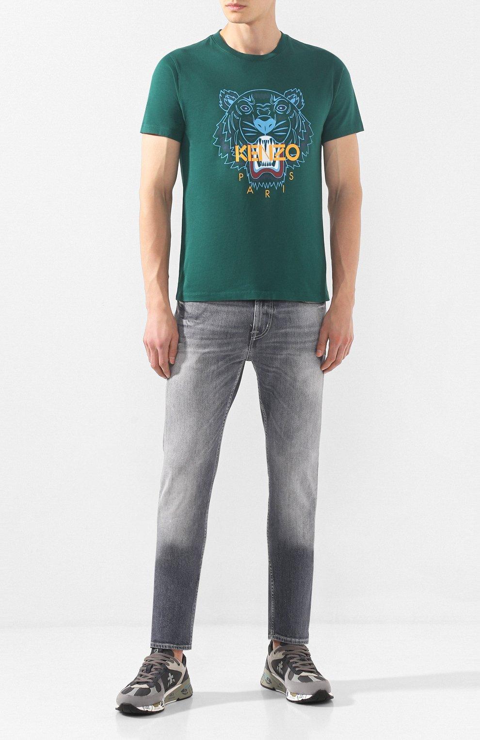 Мужская хлопковая футболка KENZO зеленого цвета, арт. F965TS0504YA   Фото 2