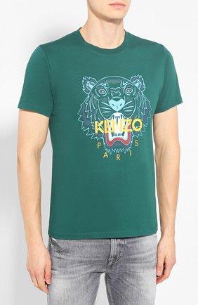 Мужская хлопковая футболка KENZO зеленого цвета, арт. F965TS0504YA   Фото 3
