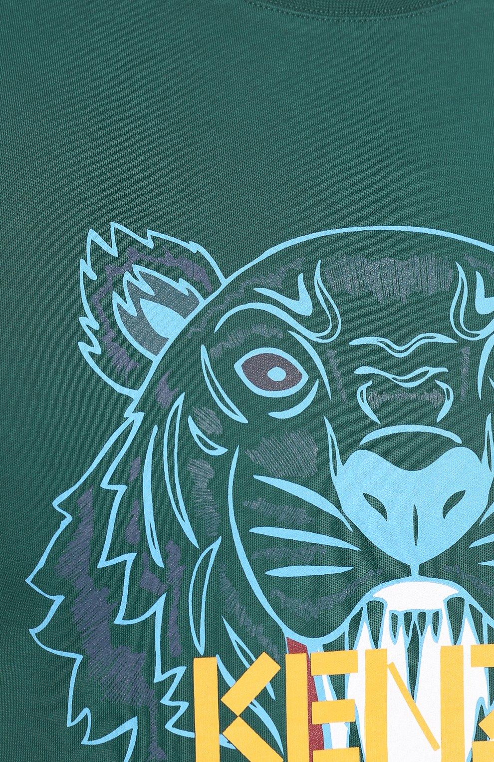 Мужская хлопковая футболка KENZO зеленого цвета, арт. F965TS0504YA   Фото 5
