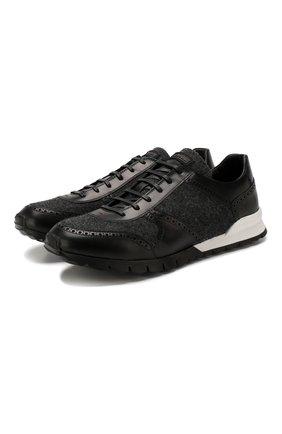 Мужские кожаные кроссовки KITON черного цвета, арт. USSARGXN00617 | Фото 1
