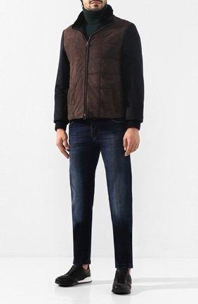 Мужские кожаные кроссовки KITON черного цвета, арт. USSARGXN00617 | Фото 2