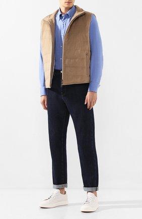 Мужская хлопковая рубашка PAUL&SHARK синего цвета, арт. I19P3116   Фото 2