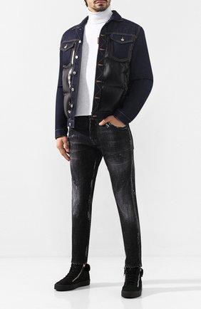 Мужские кожаные кеды GIUSEPPE ZANOTTI DESIGN черного цвета, арт. RU80023/012 | Фото 2
