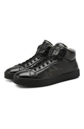 Мужские кожаные кеды SANTONI черного цвета, арт. MBGL20870NE0PSSFN01 | Фото 1