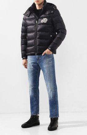 Мужские кожаные кеды SANTONI черного цвета, арт. MBGL20870NE0PSSFN01 | Фото 2