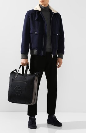 Мужская текстильная сумка GIORGIO ARMANI черного цвета, арт. Y2N110/YFD1J | Фото 2