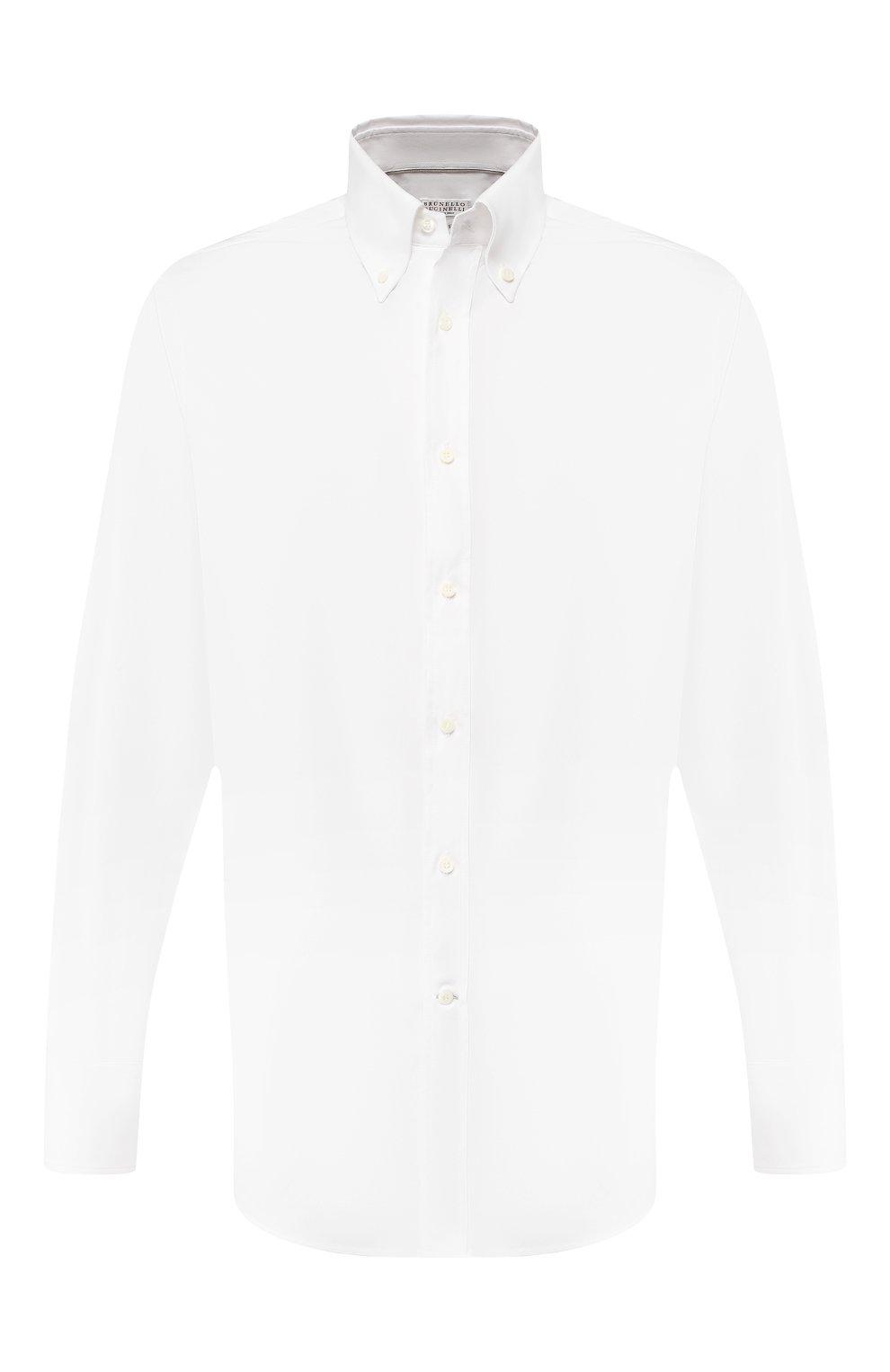 Мужская хлопковая сорочка BRUNELLO CUCINELLI белого цвета, арт. MN6640038 | Фото 1