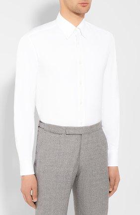 Мужская хлопковая сорочка BRUNELLO CUCINELLI белого цвета, арт. MN6640038 | Фото 3