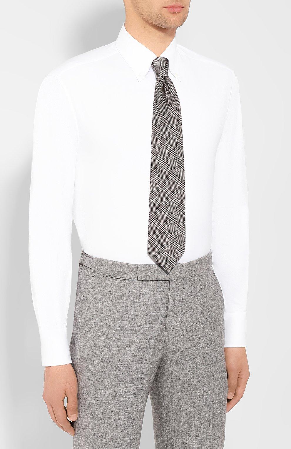 Мужская хлопковая сорочка BRUNELLO CUCINELLI белого цвета, арт. MN6640038 | Фото 4