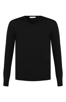 Мужской пуловер из смеси кашемира и шелка CRUCIANI черного цвета, арт. CU487B.V03F6V | Фото 1