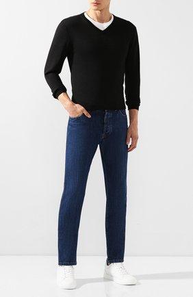 Мужской пуловер из смеси кашемира и шелка CRUCIANI черного цвета, арт. CU487B.V03F6V | Фото 2