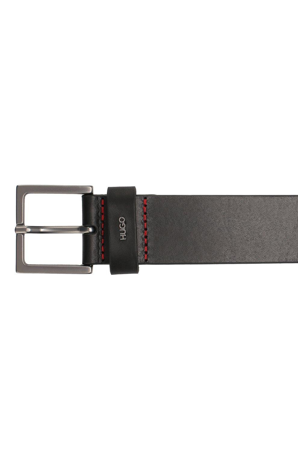 Мужской кожаный ремень HUGO черного цвета, арт. 50419003 | Фото 3