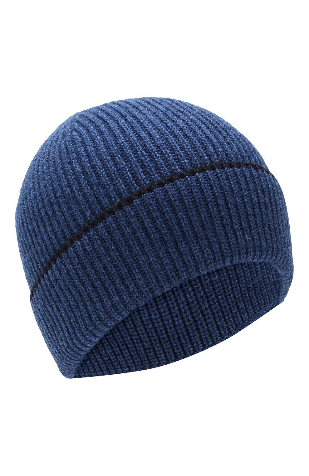 Мужская шерстяная шапка BOSS синего цвета, арт. 50416305   Фото 1
