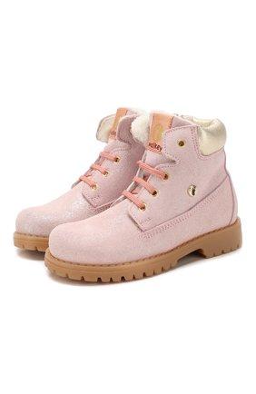Детские кожаные ботинки с меховой отделкой WALKEY розового цвета, арт. Y1A4-40143-0416/25-29 | Фото 1