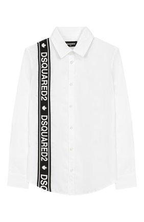 Детская хлопковая рубашка DSQUARED2 белого цвета, арт. DQ03MP-D00ED | Фото 1