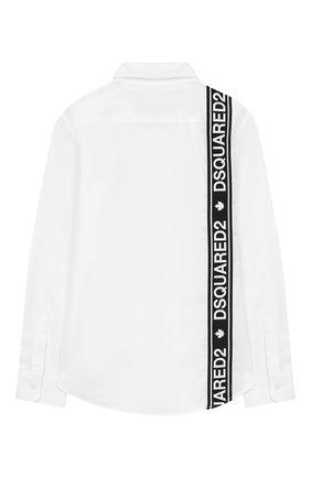 Детская хлопковая рубашка DSQUARED2 белого цвета, арт. DQ03MP-D00ED | Фото 2