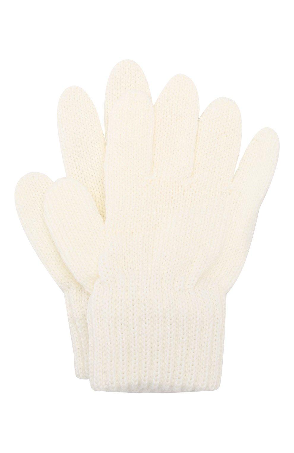 Детские шерстяные перчатки CATYA белого цвета, арт. 923531   Фото 1
