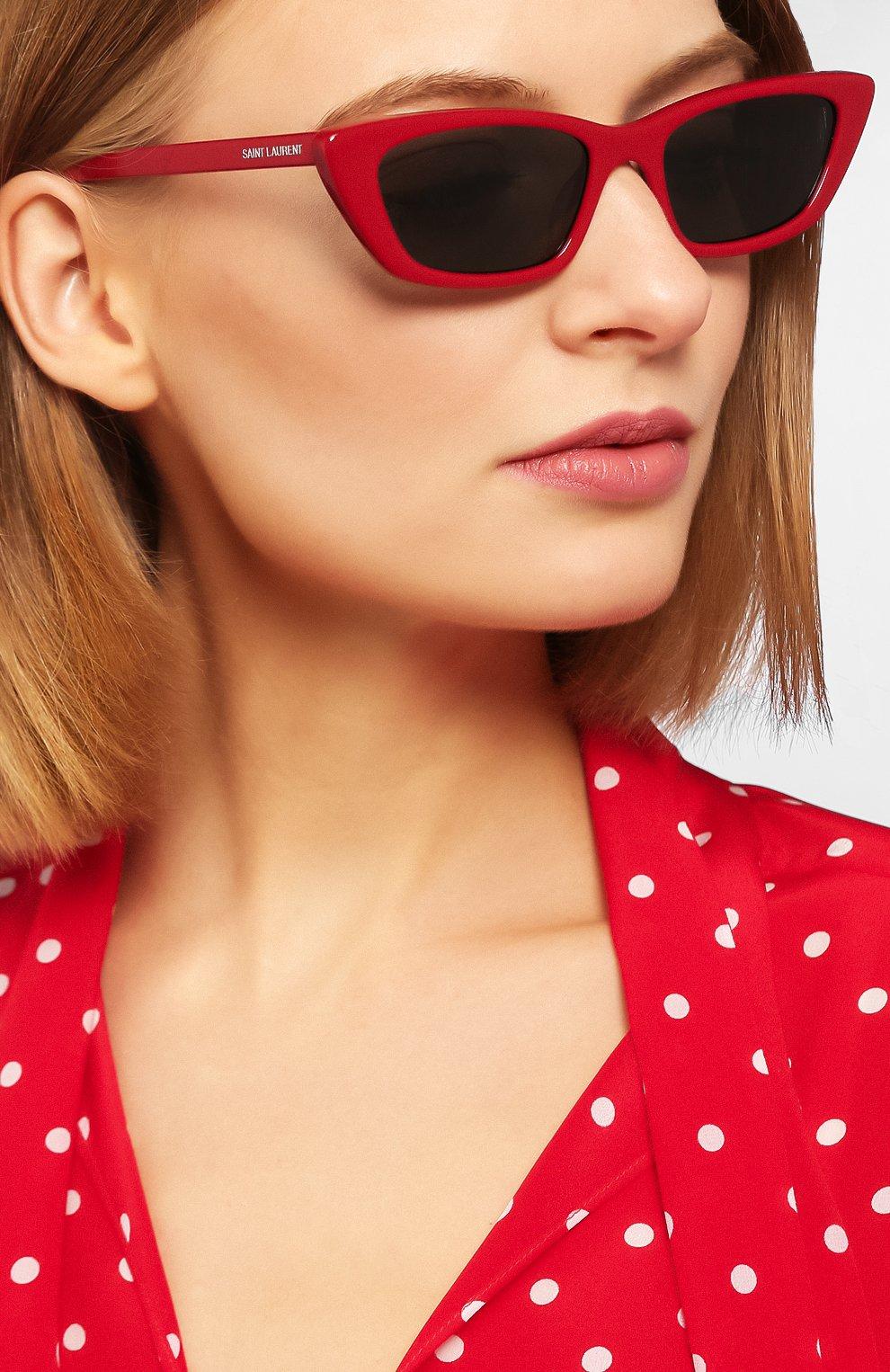 Женские солнцезащитные очки SAINT LAURENT красного цвета, арт. SL 277 003 | Фото 2