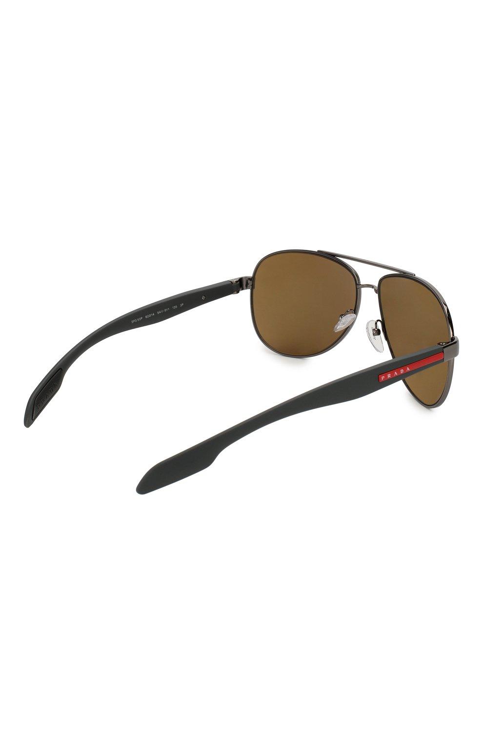 Мужские солнцезащитные очки PRADA LINEA ROSSA темно-серого цвета, арт. 53PS-5AV5Y1 | Фото 3