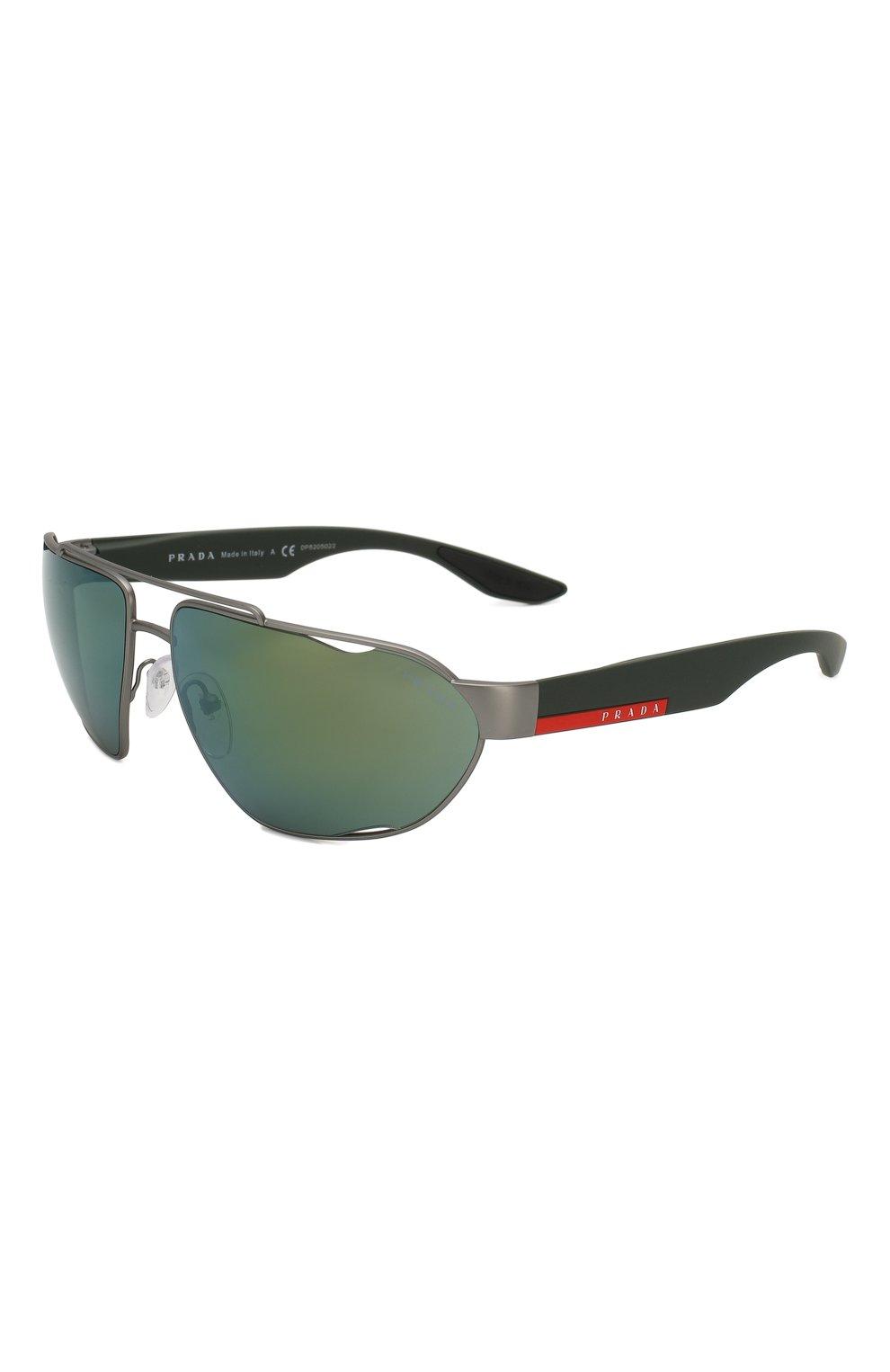 Мужские солнцезащитные очки PRADA LINEA ROSSA темно-серого цвета, арт. 56US-DG13C0 | Фото 1
