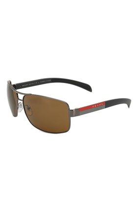 Мужские солнцезащитные очки PRADA LINEA ROSSA коричневого цвета, арт. 54IS-5AV5Y1 | Фото 1