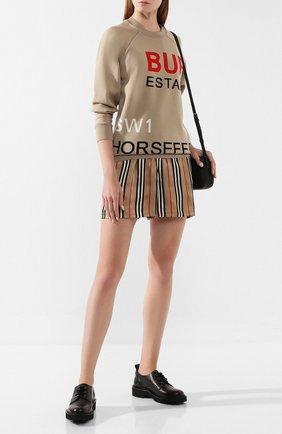 Женские шелковые шорты BURBERRY бежевого цвета, арт. 8014286 | Фото 2