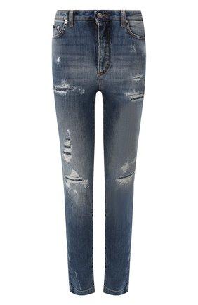 Женские джинсы с потертостями DOLCE & GABBANA синего цвета, арт. FTAH6D/G8BF1 | Фото 1