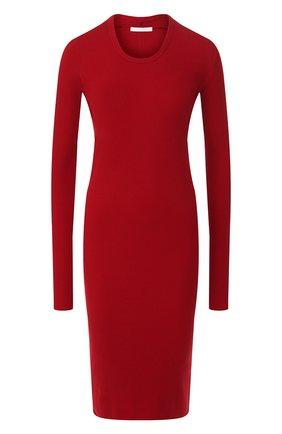 Женское хлопковое платье HELMUT LANG красного цвета, арт. J06HW604   Фото 1