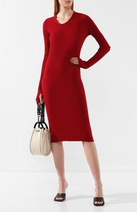 Женское хлопковое платье HELMUT LANG красного цвета, арт. J06HW604   Фото 2