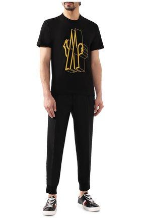 Мужская хлопковая футболка MONCLER черного цвета, арт. E2-091-80022-50-8390T | Фото 2