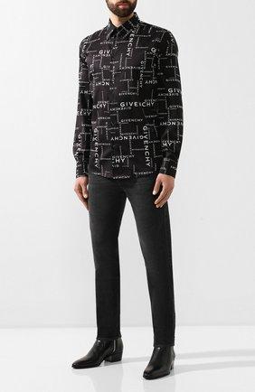 Мужская хлопковая рубашка GIVENCHY черно-белого цвета, арт. BM60F612DS | Фото 2