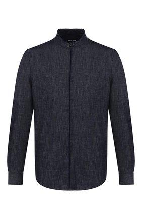 Мужская хлопковая рубашка GIORGIO ARMANI синего цвета, арт. 6GSC66/SDR2Z | Фото 1