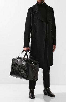 Мужская кожаная дорожная сумка cube BURBERRY черного цвета, арт. 8012657 | Фото 2