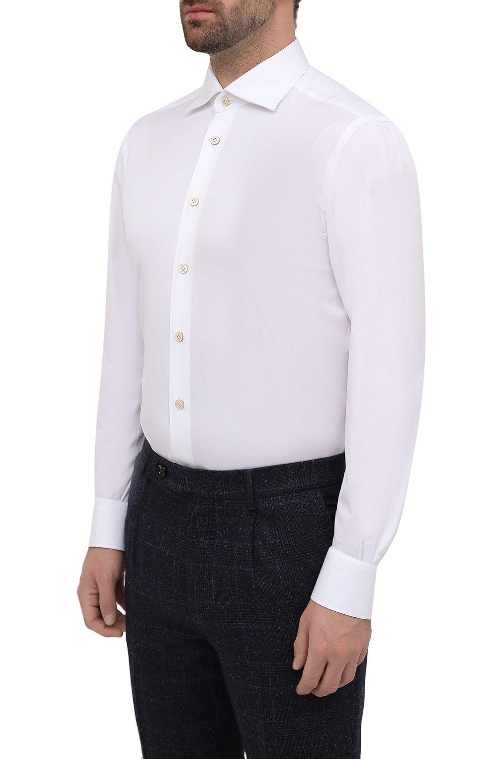 Мужская хлопковая сорочка KITON белого цвета, арт. UCIH0660711 | Фото 3