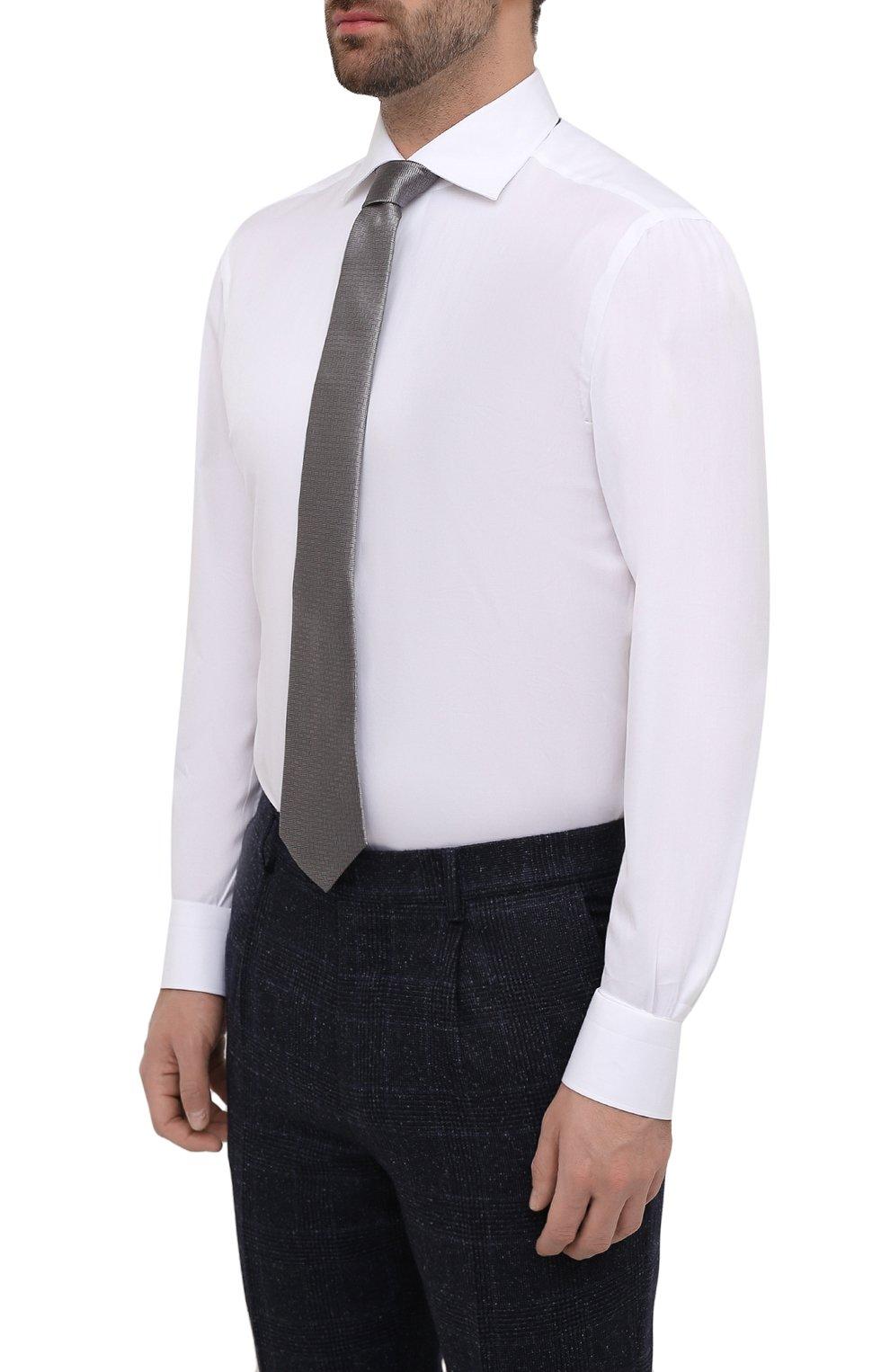 Мужская хлопковая сорочка KITON белого цвета, арт. UCIH0660711 | Фото 4