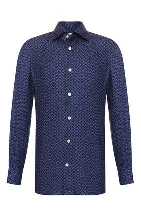 Мужская сорочка из смеси вискозы и шерсти KITON темно-синего цвета, арт. UMCNERH0715107   Фото 1