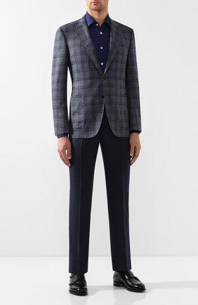 Мужская сорочка из смеси вискозы и шерсти KITON темно-синего цвета, арт. UMCNERH0715107   Фото 2