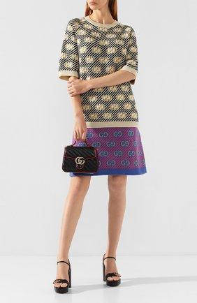 Женская сумка gg marmont mini GUCCI черного цвета, арт. 583571/00LFX | Фото 2